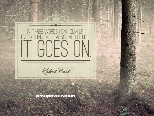 In three words I can sum up everything I've learned about life, It Goes On - Robert Frost
