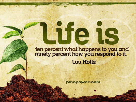 Life is 10 Percent What Happens to You and 90 Percent How You React to It