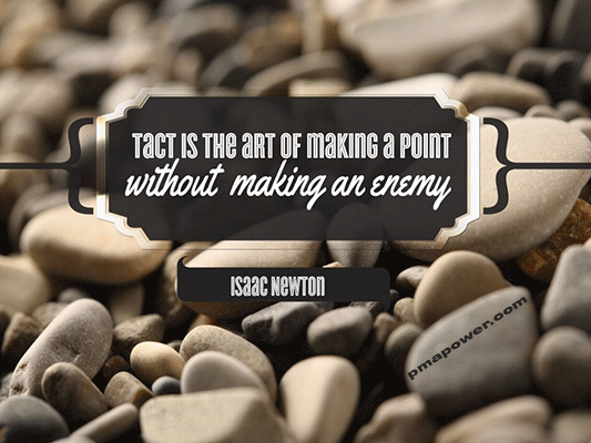 Tact is the art of making a point without making an enemy - Isaac Newton