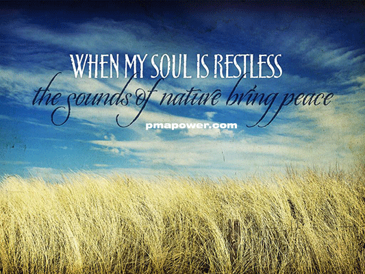When my soul is restless the sounds of nature bring peace