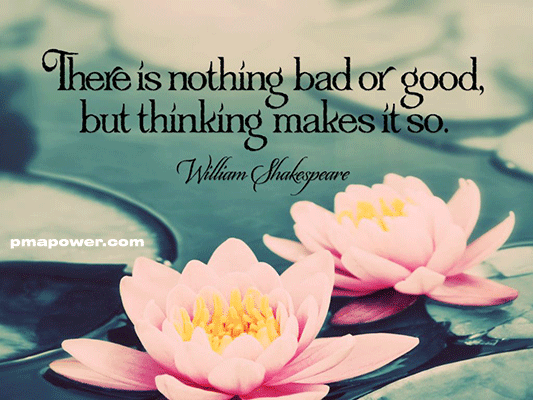 There is nothing bad or good, but thinking makes it so - William Shakespeare