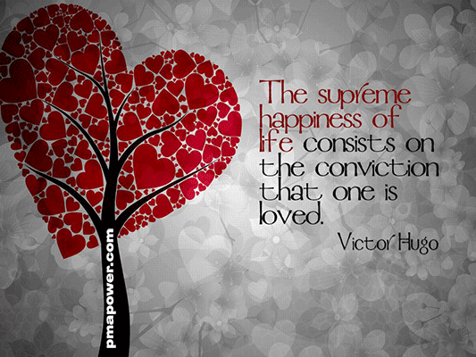 The supreme happiness of life consists on the conviction that one is loved - Victor Hugo