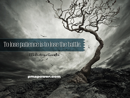 To lose patience is to lose the battle - Mahatma Ghandi