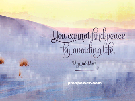 You cannot find peace by avoiding life - Virginia Woolf