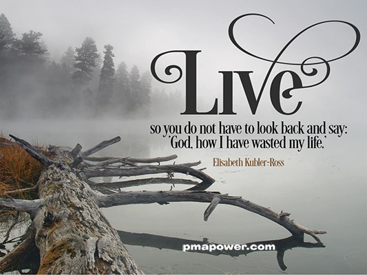 "Live so you do not have to look back and say ""God, how I have wasted my life"" - Elisabeth Kubler-Ross"
