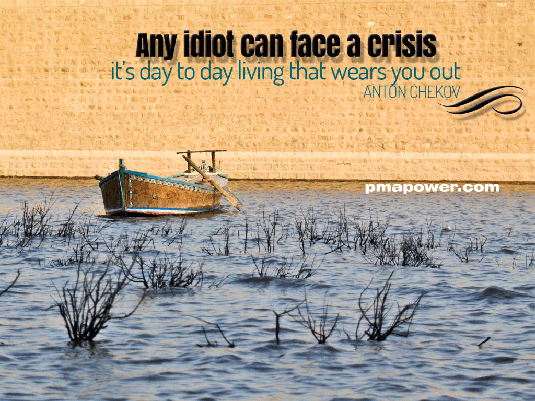 An idiot can face a crisis, it's day to day living that wears you out